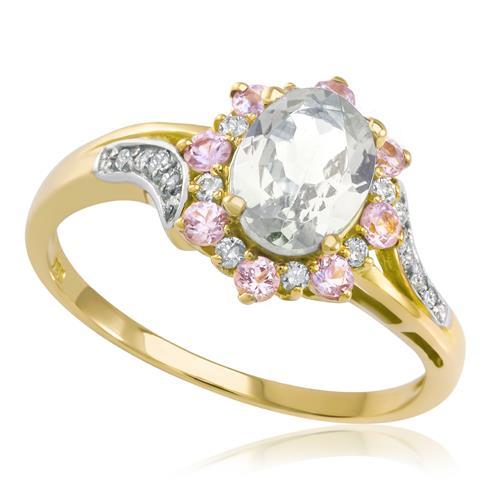 Anel Com Morganita Oval, Safiras Rosas E Diamantes Em Ouro