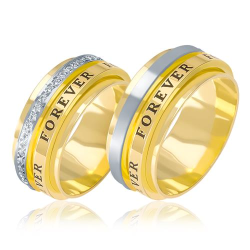 Par de Alianças Anatômicas   Forever   trabalhadas com Diamantes, em Ouro  Amarelo e9788d9578