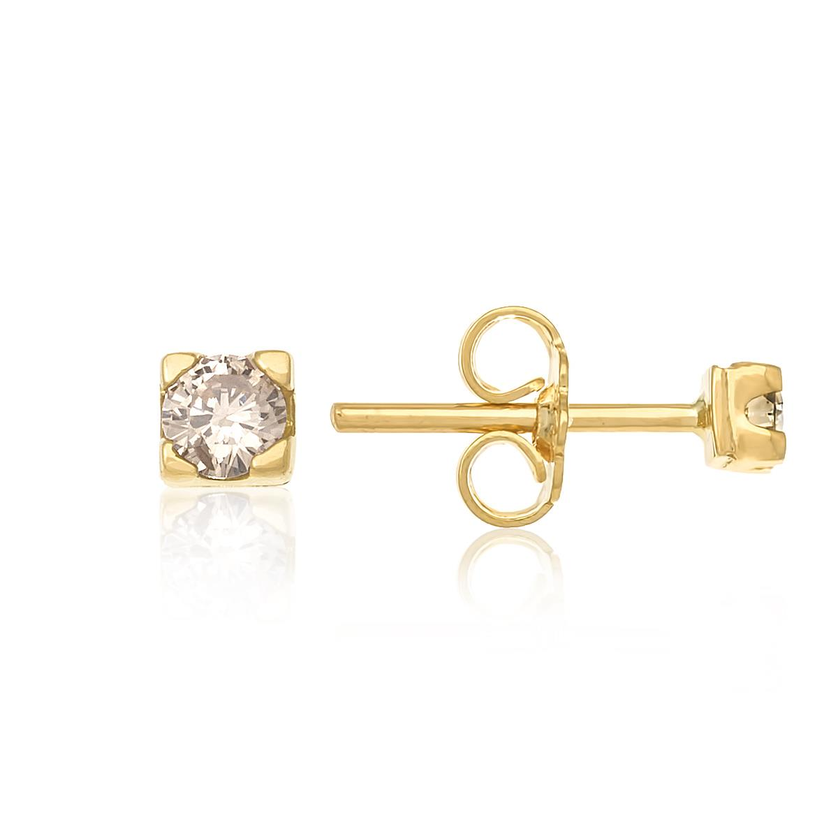 Par de Brincos Solitário com Diamantes totalizando 20 Pts, em Ouro Amarelo 7e33658be0