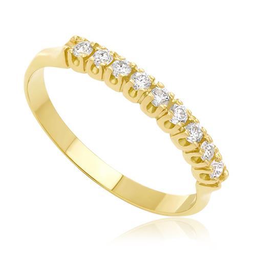 900f0c1aa75ae Meia Aliança de ouro com 9 Diamantes totalizando 25 Pts