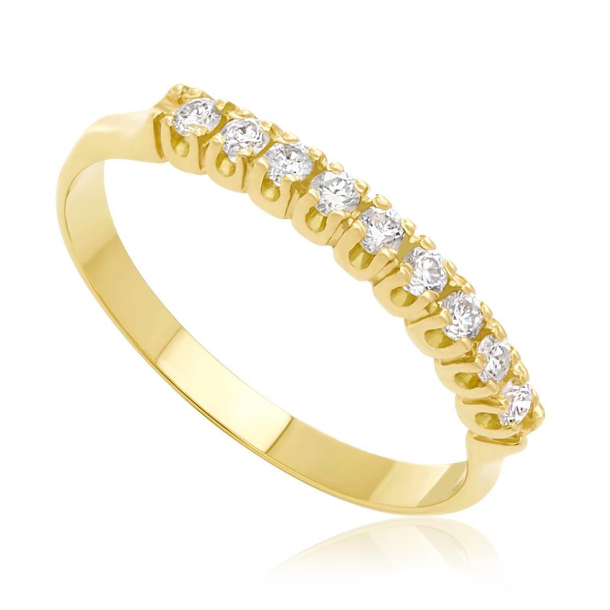 Meia Aliança de ouro com 9 Diamantes totalizando 25 Pts 8b4b6061c7