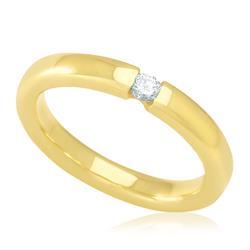 Anel Solitário com Diamante de 10 Pts, em Ouro Amarelo