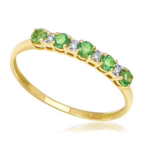 Meia Aliança com 4 Diamantes e 5 Esmeraldas, em Ouro Amarelo