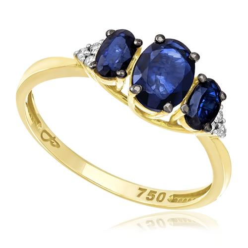Anel com 3 Safiras e 6 Diamantes, em Ouro Amarelo