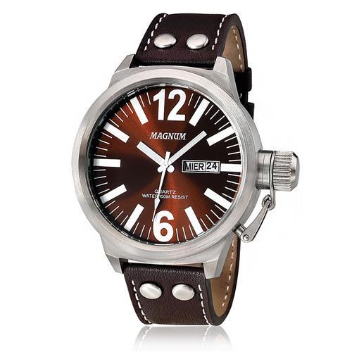 f6dbe64aa32 Relógio Masculino Magnum Analógico MA31524V Couro Marrom