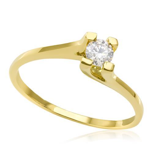 Anel Solitário com Diamante de 25 pts., em Ouro Amarelo