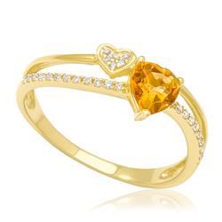 Anel com Diamantes totalizando 15 pts. e Citrino Coração, em Ouro Amarelo 43a41709a2