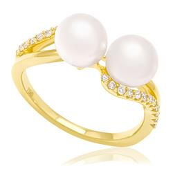 Anel com Diamantes totalizando 30 pts. e Pérolas de 7 mm, em Ouro Amarelo 61d6a58804