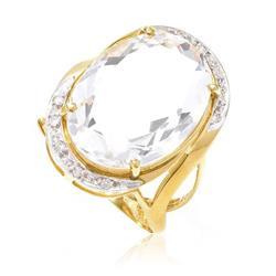 Anel com 10 Diamantes e Cristal Oval¸ em Ouro Amarelo