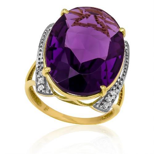 Anel com Ametista Oval e 12 Diamantes, em Ouro Amarelo