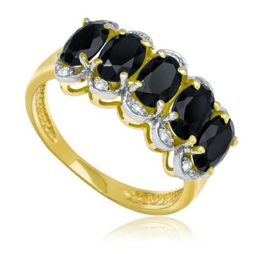Meia Aliança com 10 Diamantes e 5 Ônix, em Ouro Amarelo