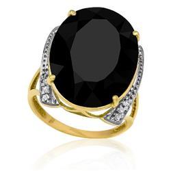 Anel com Ônix Oval e 12 Diamantes, em Ouro Amarelo