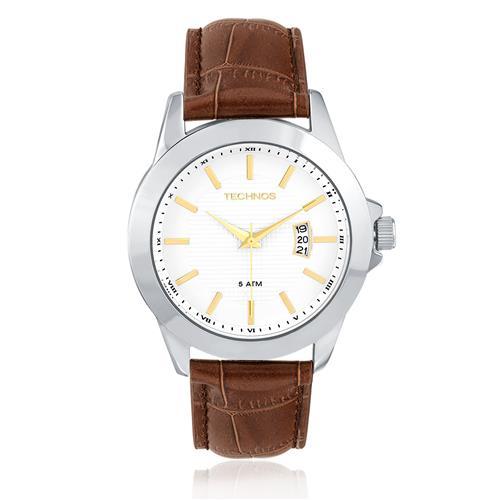 Relógio Masculino Technos Classic Steel Analógico 2115KNL 1K Couro Marrom 1453e9f03e
