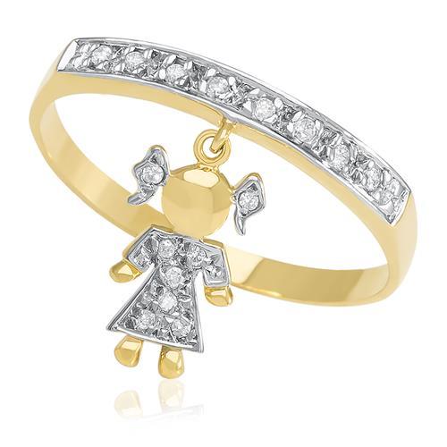 Anel com Berloque Menina com 16 Diamantes, em Ouro Amarelo