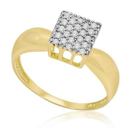 Anel Chuveiro Quadrado com 23 Diamantes, em Ouro Amarelo