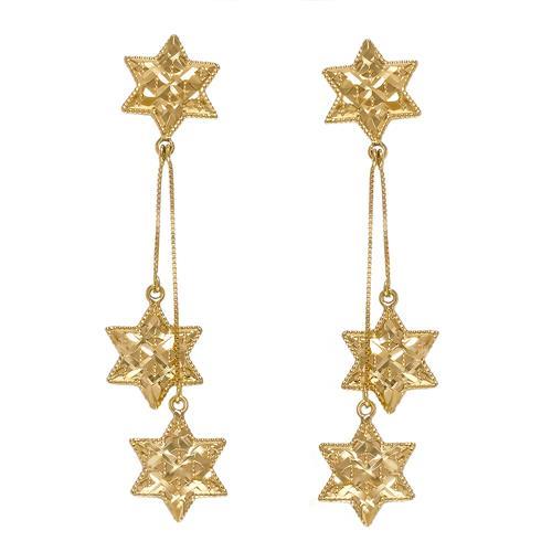 Par de Brincos com Estrelas em Ouro Amarelo