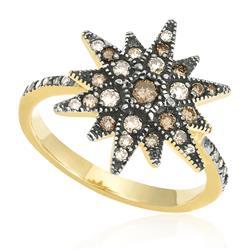 Anel Trabalhado com 37 Diamantes, em Ouro Amarelo