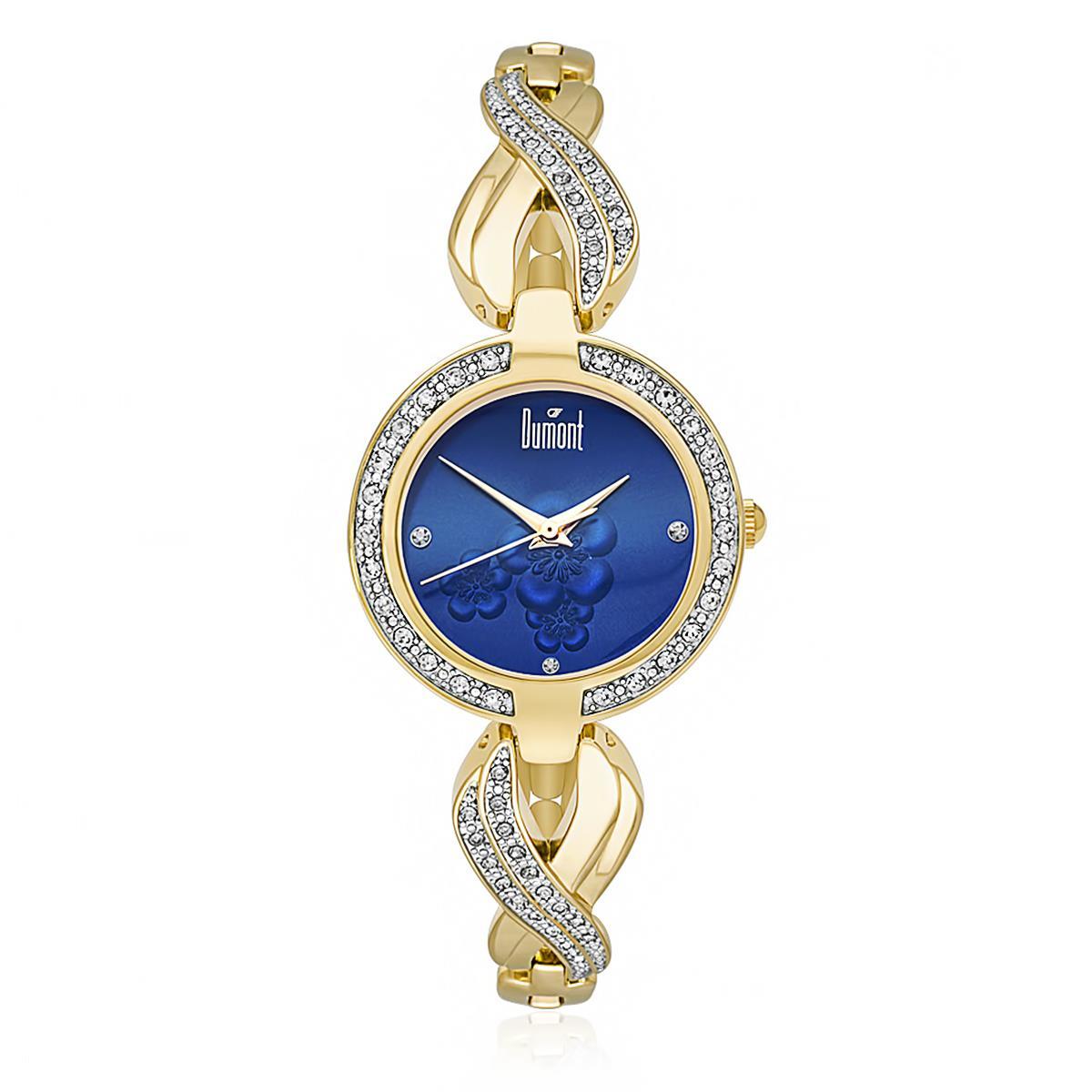 Relógio Feminino Dumont Analógico DU2035LQM 4D Dourado com fundo Azul 98c35db962