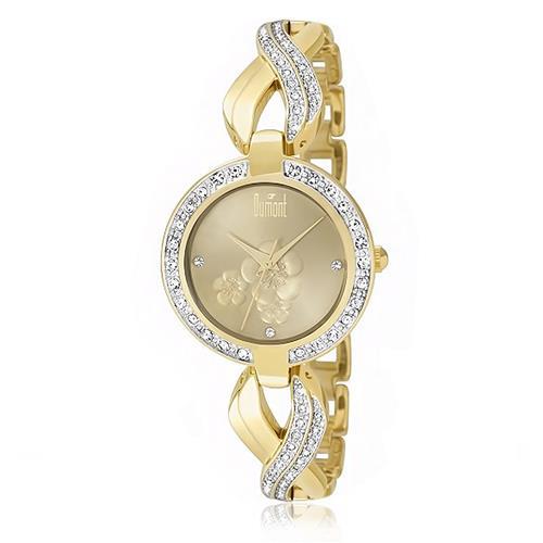 42ca32fddbe Relógio Feminino Dumont Analógico DU2035LQN 4K Dourado com Cristais