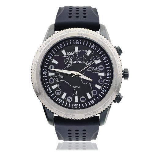 Relógio Masculino Technos Connect Analógico 753AB 8A com catraca giratória  e pulseira Preta cd9bffc739