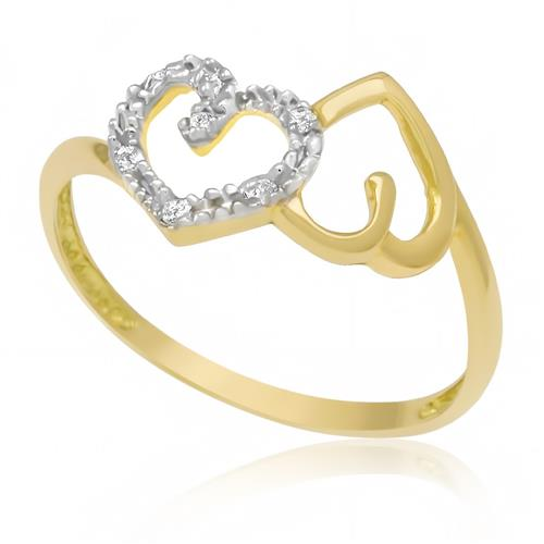 Anel 2 Corações com 6 Diamantes, em Ouro Amarelo