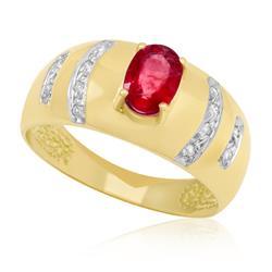 Anel com Rubi Oval de 1,08 Cts e 12 Diamantes, em Ouro Amarelo