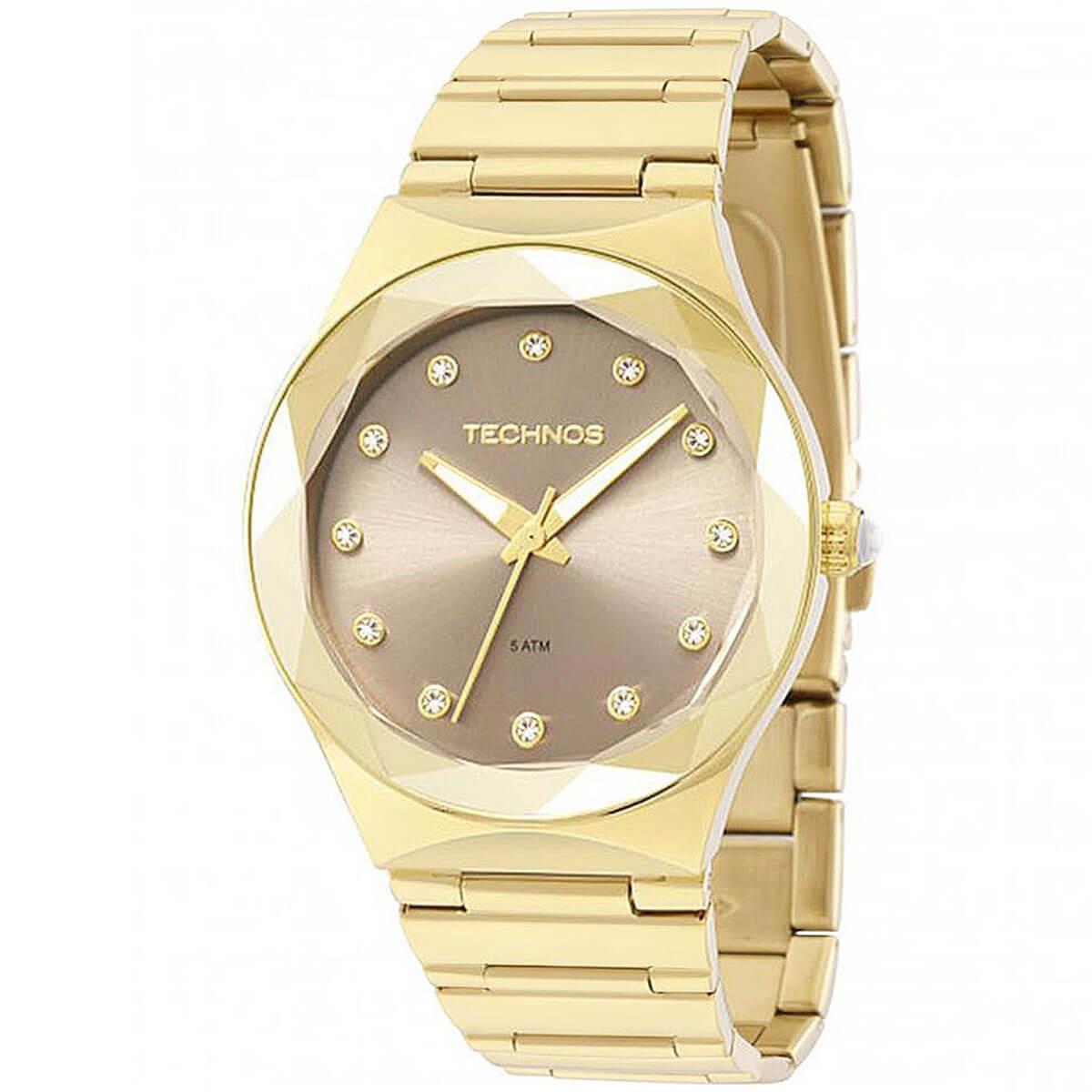 Relógio Feminino Technos Elegance Crystal Analógico 2035MFH 4C Dourado 1c7eb75a95