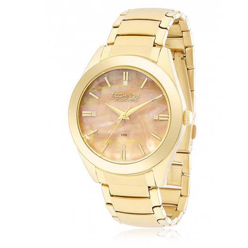 Relógio Feminino Technos Elegance St. Moritz Analógico 2036MFA 4T Dourado  com Madrepérolas colorida d9968322b137ea ... f8e823288e