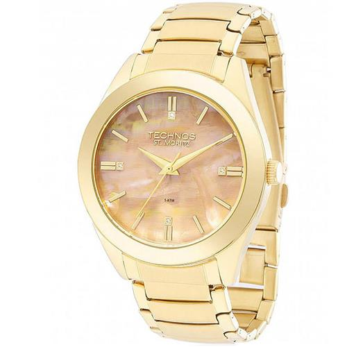 Relógio Feminino Technos Elegance St. Moritz Analógico 2036MFA 4T Dourado  com Madrepérolas colorida 9844ed0a71