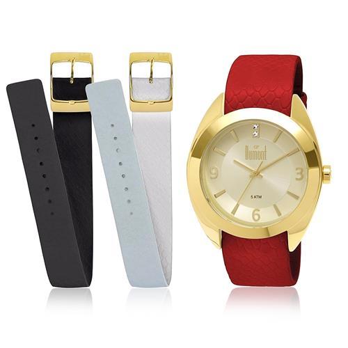 d95a6691f5a Relógio Feminino Dumont Troca Pulseiras Analógico DU2035LND 2X Dourado com  Cristais