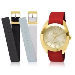 41aea5e0fd6 Relógio Feminino Dumont Troca Pulseiras Analógico DU2035LND 2X Dourado com  Cristais. lista de desejos