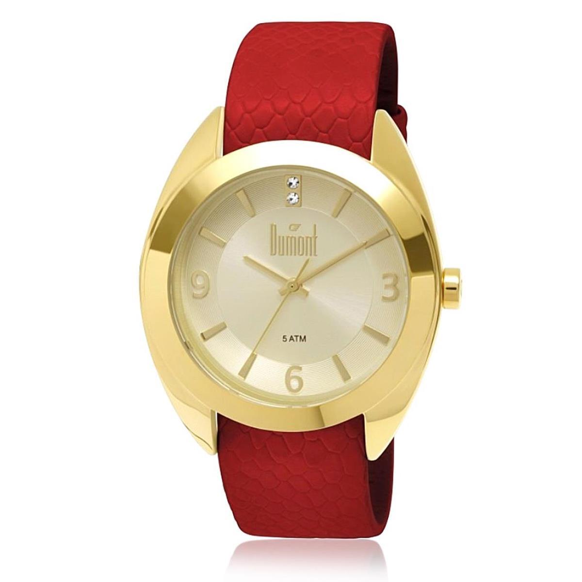 1627a22f943 Relógio Feminino Dumont Troca Pulseiras Analógico DU2035LND 2X Dourado com  Cristais