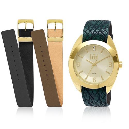 85ccd3b1dd9 Relógio Feminino Dumont Troca Pulseiras Analógico DU2035LNC 2X Dourado com  Cristais