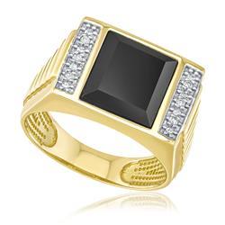 Anel Masculino com Ônix Retangular e 6 Diamantes, em Ouro Amarelo
